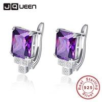 JQUEEN Elegant 8 15g Purple Piercing Earrings Clip Design Women Amethyst Stone Ear Studs Silver 925