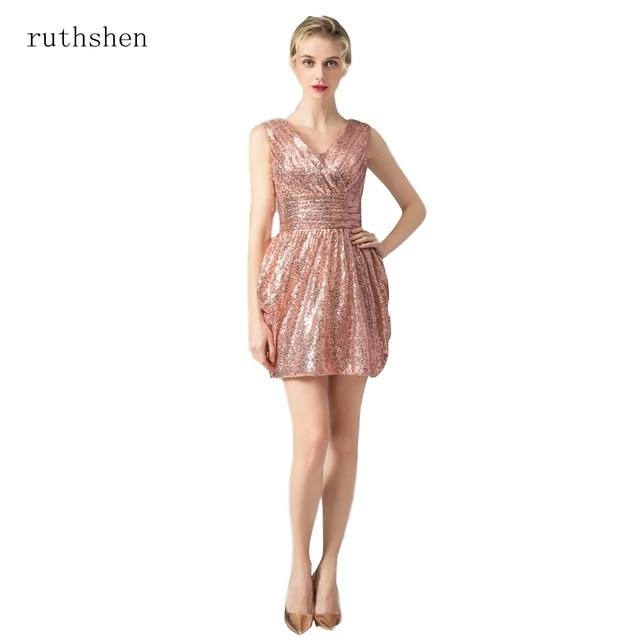 01f2fc7d14 Ruthshen złote cekiny druhna sukienki głębokie dekolt w serek krótki ślub  sukienka na imprezę tanie prawdziwe