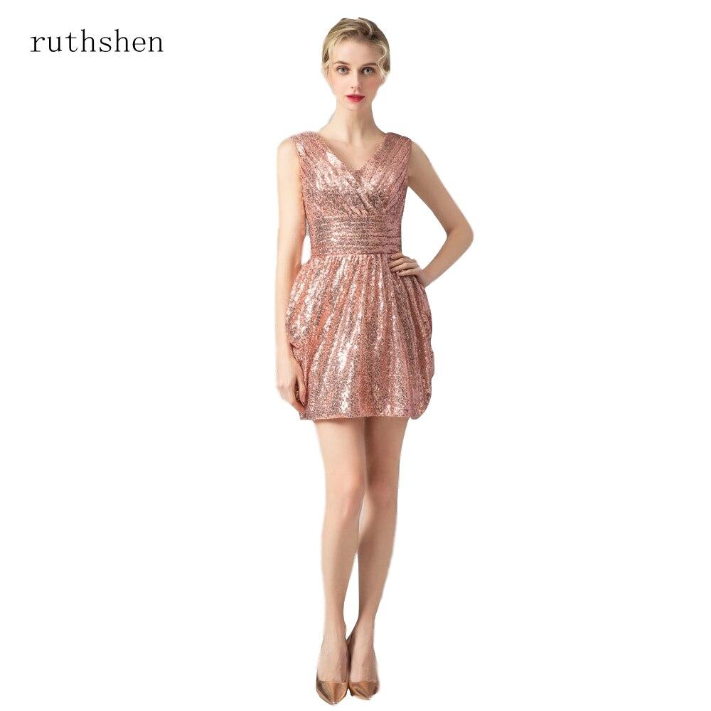 ruthshen Gold Sequin   Bridesmaid     Dresses   Deep V-Neck Short Wedding Party   Dress   Cheap Real Photo   Bridesmaids     Dress