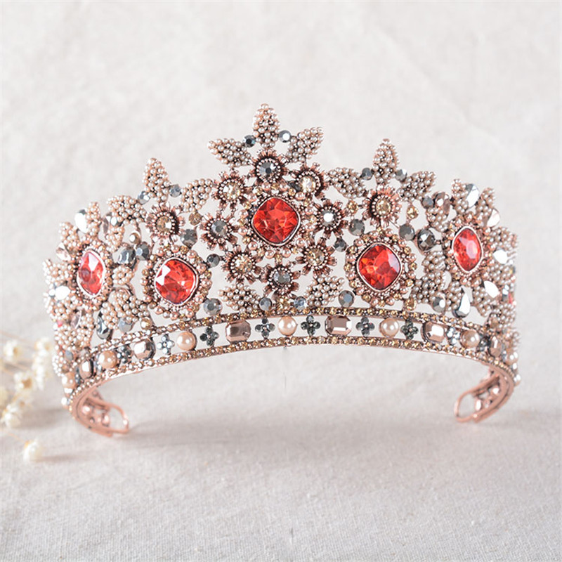 Snuoy Bright Shining Red Rhinestone Tiara Comb Millet Pearl Flower Bridal Hair Ornament Headband Bridal Headpiece