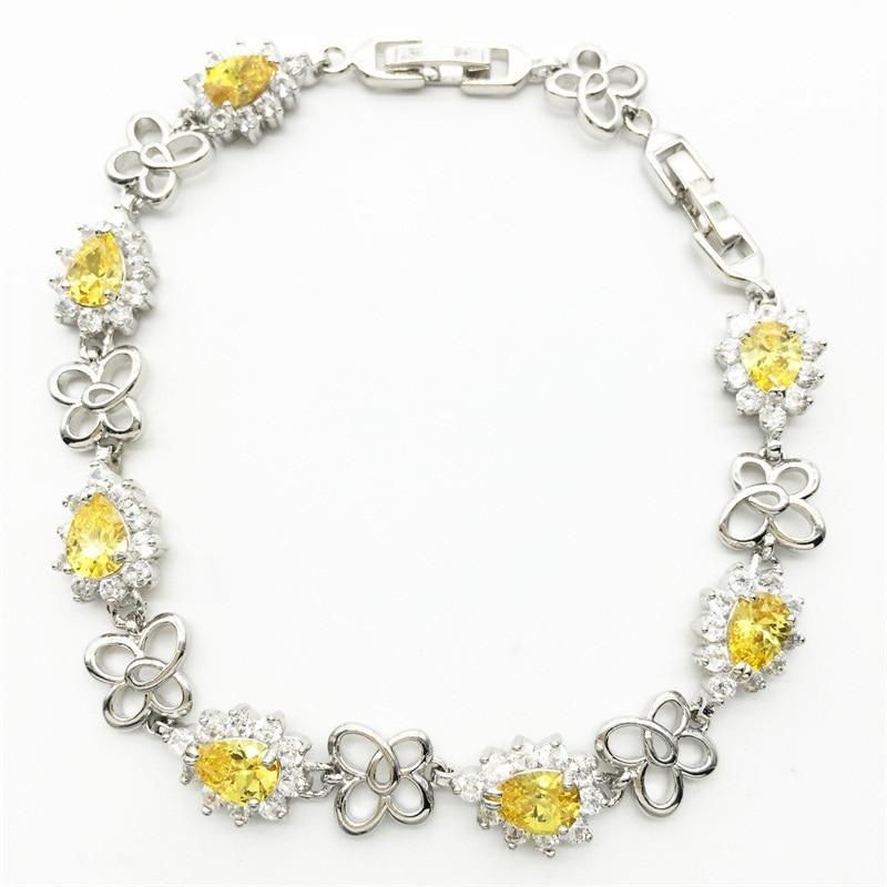 Ювелирные изделия Фирменная Новинка Стиль Прекрасный желтый белый цвет Браслеты стерлингового серебра для Для женщин Бесплатная доставка