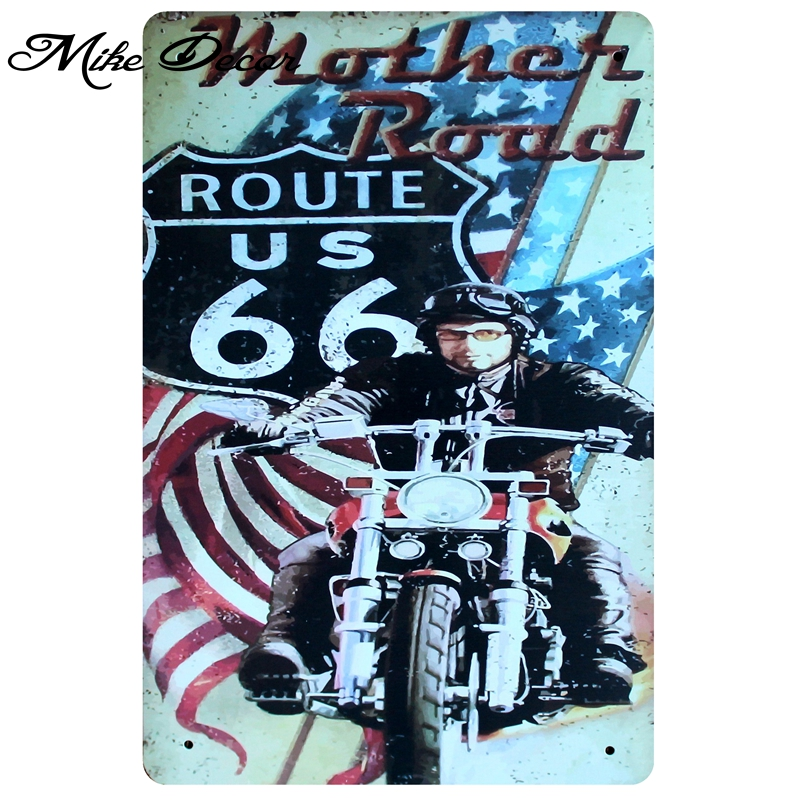 [ Mike86 ] <font><b>Motor</b></font> Route66 Metal Plaque Iron Painting Antique Hotel Party Home Pub Decor 20X30 CM A-<font><b>1107</b></font> image
