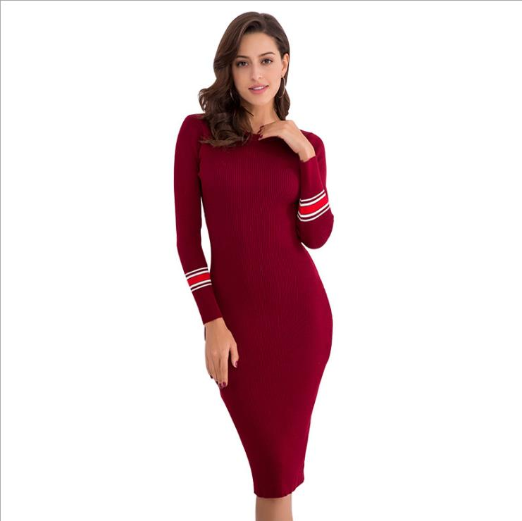 906d750817a De Tricot Noir Couleur Vêtements Mince Robe D268 Automne À Bureau Longues  Manches rouge O vert ...