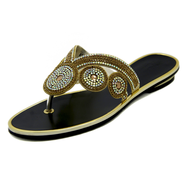 51e807a4fc9e6d Women s Slippers Womens Flat Sandals Summer 2016 Rhinestone Shoes Crystal Sandals  Fancy Gold Coler Flip Flops Large Size Shoes