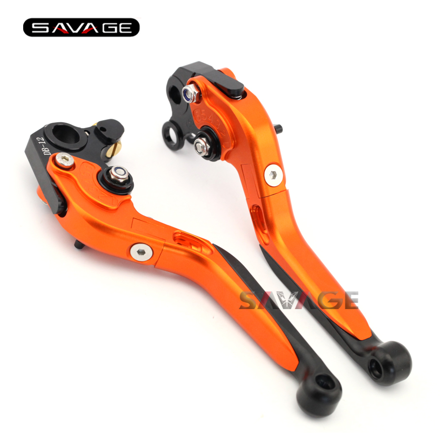 ФОТО For KTM 690 LC4 Supermoto 2007 2008 2009 Motorcycle Accessories Adjustable Folding Extendable Brake Clutch Levers Orange