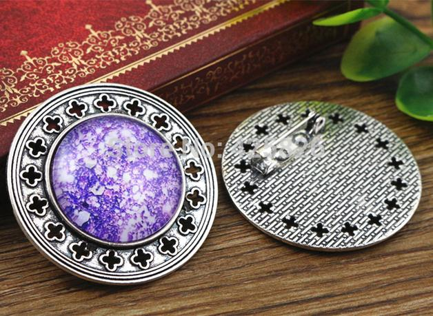 New Fashion  2pcs 25mm Inner Size Antique Silver Brooch Pierced Cameo Cabochon Base Setting (A5-22)New Fashion  2pcs 25mm Inner Size Antique Silver Brooch Pierced Cameo Cabochon Base Setting (A5-22)