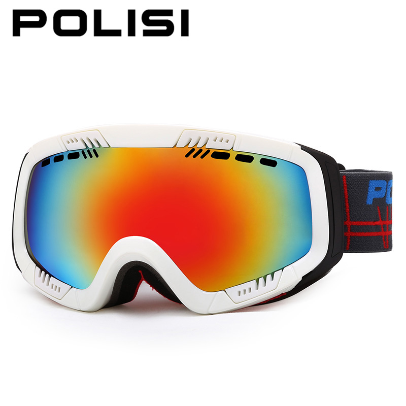 POLISI Winter Skiing Snow Eyewear Men Women Outdoor Windproof Ski Skate Glasses Professional Snowboard Anti-Fog UV400 Goggles 100% brand barstow retro motorcycle glasses anti fog wind skiing glasses mtb road eyewear tear off film cycling glasses men