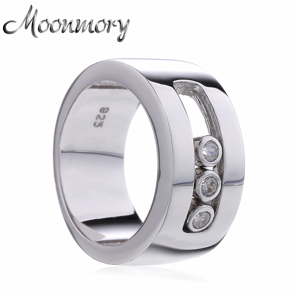 Moonmory European Style Couple Wedding 925 Sterling Silver Cincin Dengan Movable Cubic Zirconia Untuk Wanita Man Engagement Jewelry