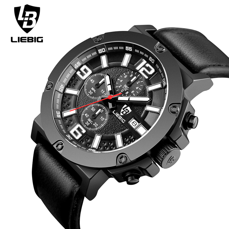 LIEBIG Men Military Quartz Wristwatches Calendar Leather 50M Waterproof Sports Watches Commander Relogio Masculino