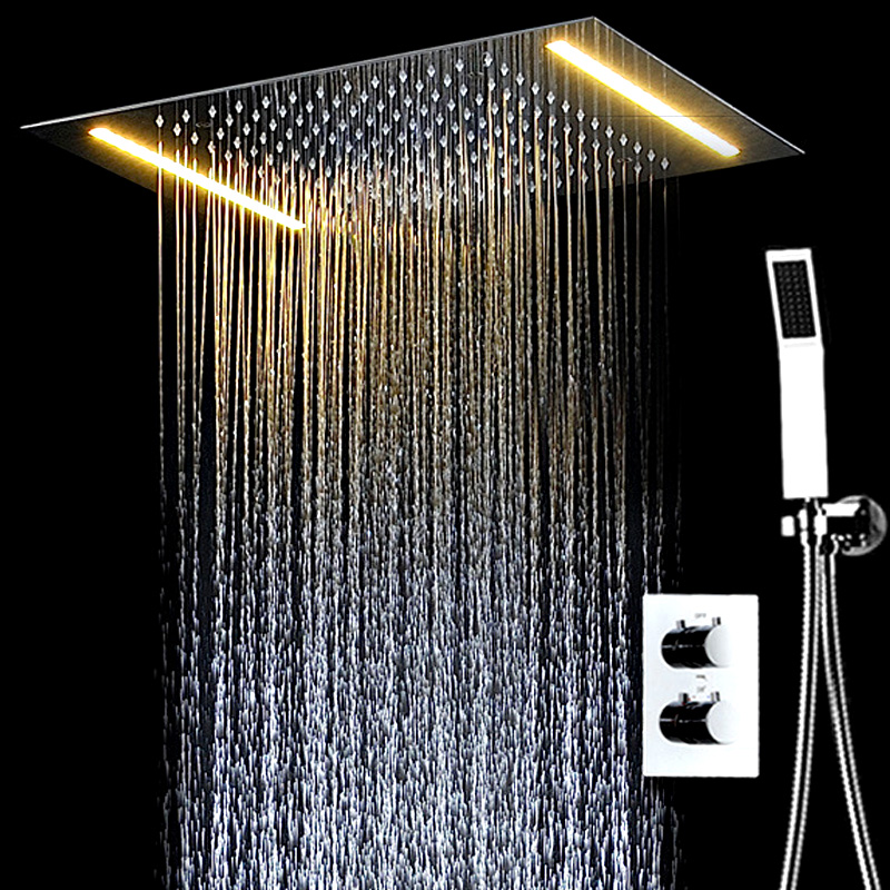 Modern Concealed Electric LED Ceiling Rain Shower Systems Thermostatic Bath Mixer Set 304 SUS and Brass Chrome