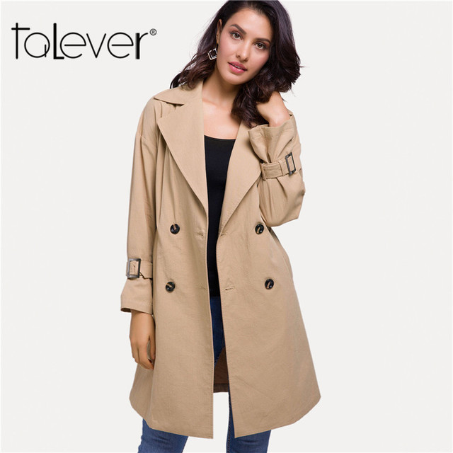 Women's Windbreaker Spring Autumn 2018 Female Classic Solid Color Double Breasted Long Trench Coat Business Outerwear Talever