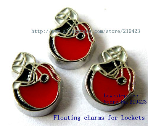 Free shipping 20pcs red football helmet floating charms