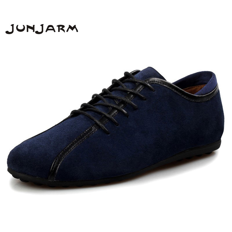 JUNJARM 2019 Handmade Men Flat Shoes Genuine   Leather   Mens Loafers Shoes Cow   Suede   Men Casual Shoes Soft Men Outdoor Shoes