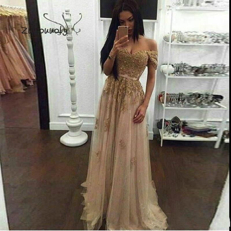 Champagne hors épaules robes de soirée en dentelle or robe de bal longue perlée mode formelle robes de soirée à vendre robe de Graduation