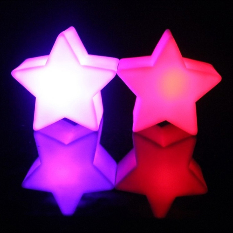 Christmas Decoration Star Led Light White Plastic Lava Lamp Small Lamparas Night Lights 7 Colors Color Changing