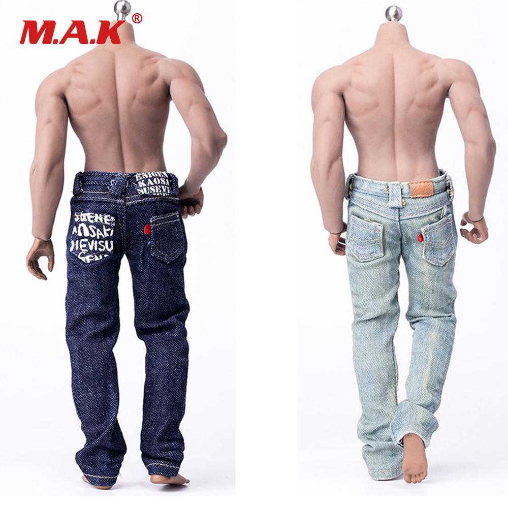 16 Scale Male Action Figure Hip Hop Fashion Print Jeans Pants LightDark Blue Color for Muscular Body Figures