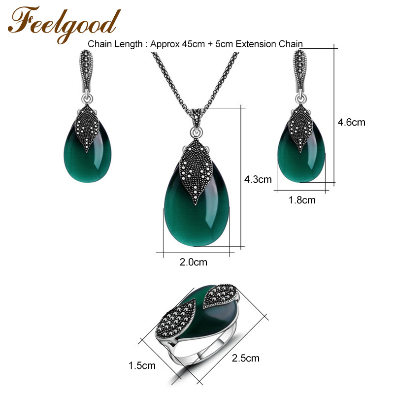 HTB1cr8XQFXXXXaNXpXXq6xXFXXXv - Feelgood Jewellery Set Vintage Silver Color Fashion Water Drop Green Natural Stone Opal Jewelry Sets For Women Party Gift