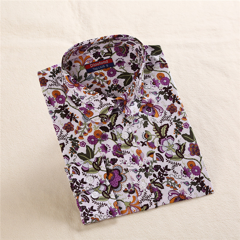 Dioufond Floral Print Shirt Women Cotton Long Sleeve Blusas Casual Turn-down Collar Lady Blouse Spring Female Fashion Clothing