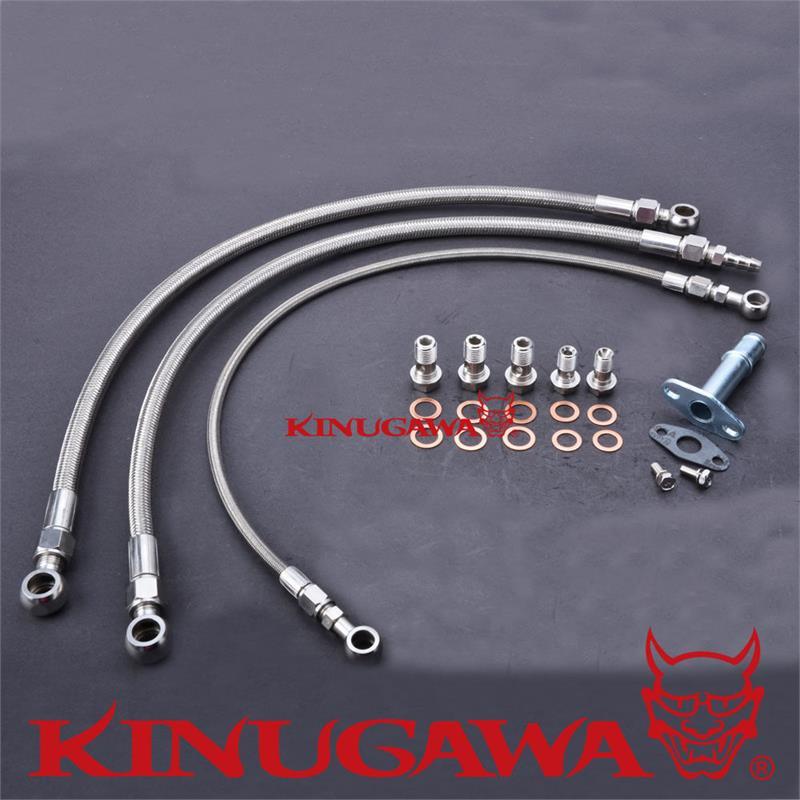 Kinugawa Kit de ligne d'huile et d'eau Turbo pour Nissan RB30 w/pour Garrett GT3076R GT3582R support supérieur