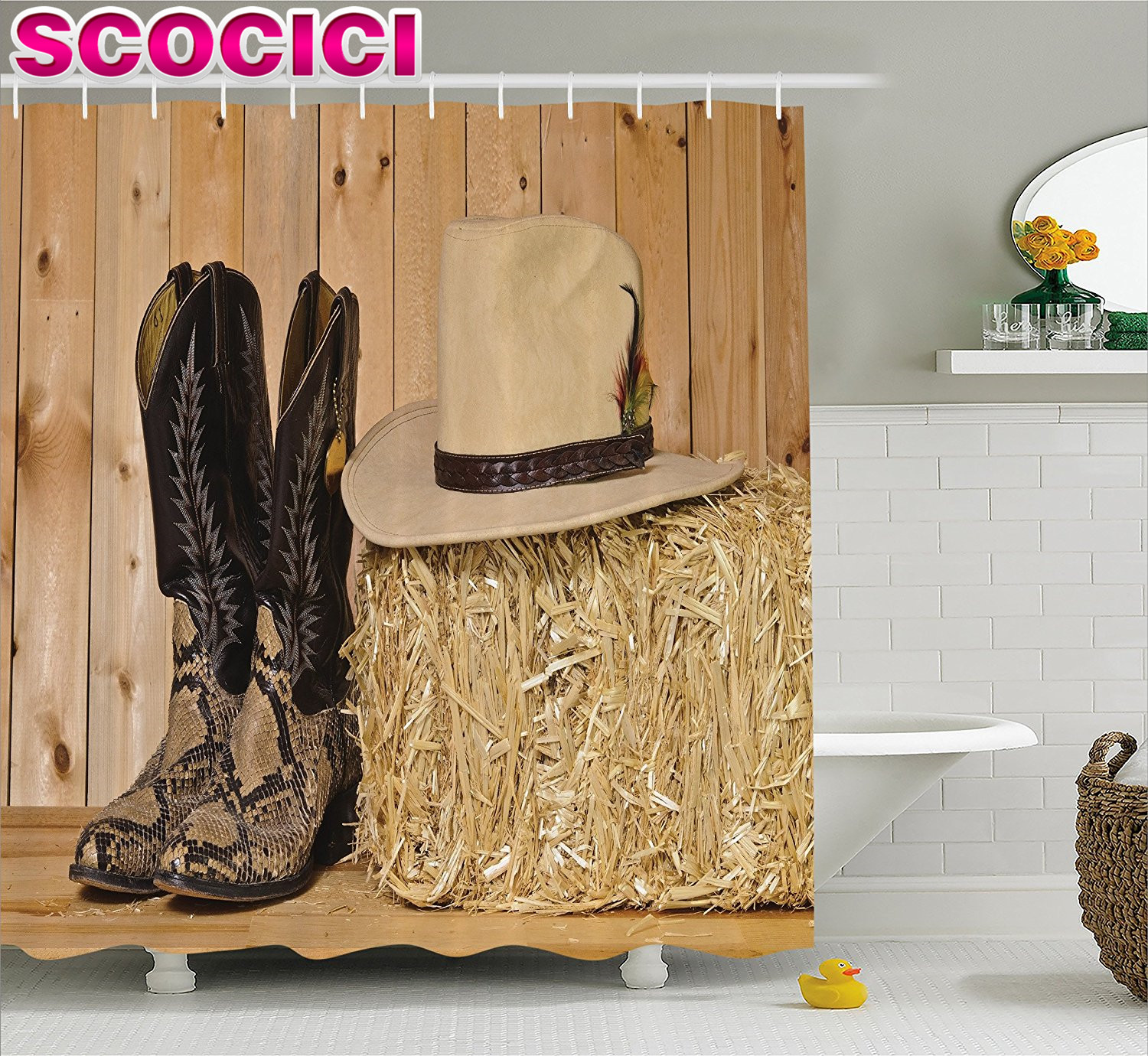 Cowboy bathroom decor - Western Decor Shower Curtain Snake Skin Cowboy Boots Timber Planks In Barn With Hay Old West