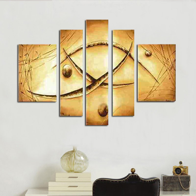 hand painted oil wall art Yellow soil color canvas painting picture ...