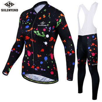 Siilenyond 2019 Long Sleeve Cycling Clothing Set Women Mountain Bicycle Cycling Jersey Set MTB Bike Cycling Clothes Suit фото