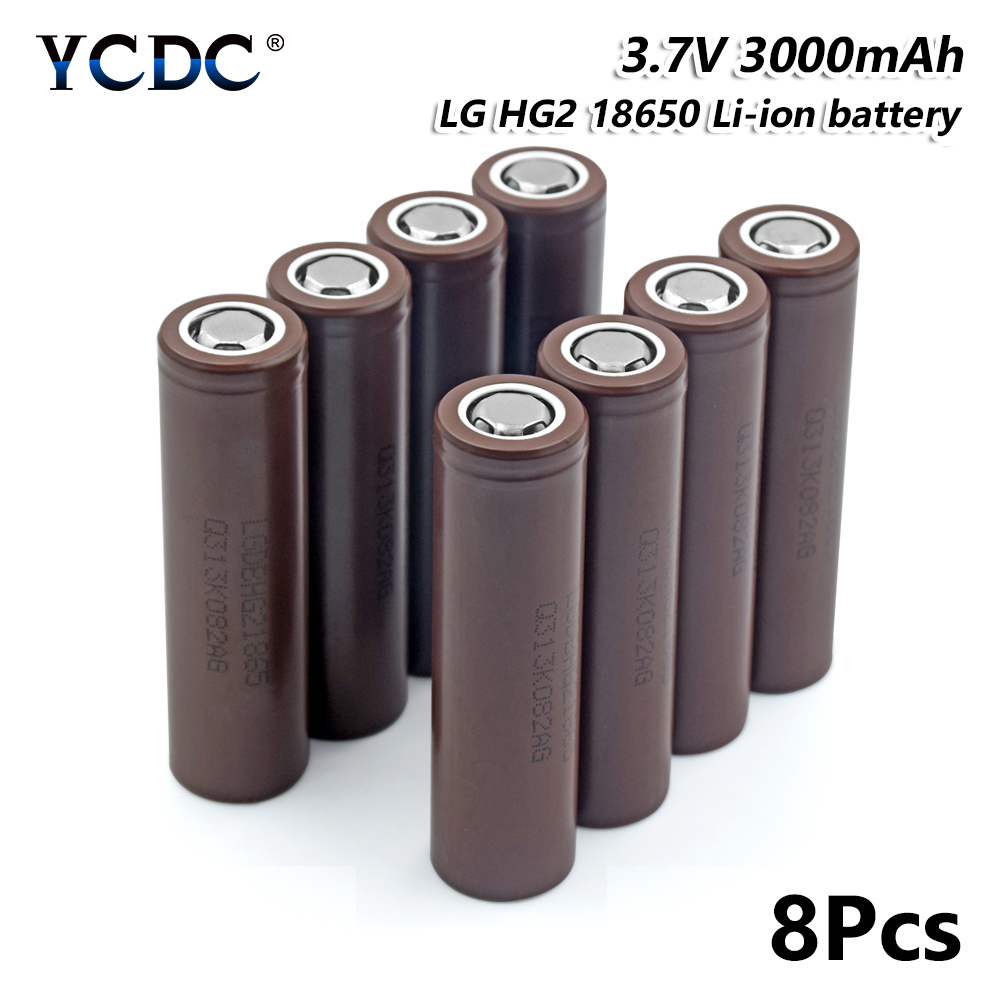 high capacity lg hg2 18650 battery 3000mah 3.7v rechargeable li-ion cell 8pcs for Laser Pen LED Flash light Cell battery holder replacement decoded high capacity 3 8v 4200mah li ion battery for lg g3 bl 53yh more golden