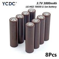 high capacity lg hg2 18650 battery 3000mah 3.7v rechargeable li ion cell 8pcs for Laser Pen LED Flash light Cell battery holder