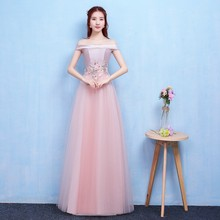 Red Bean Pink Colour Fashion Style  Long Bridesmaid Dresses Sexy A Line Women Dress for Wedding Party Vestido Sexy Prom Dress opening ceremony party show blue red cheongsam wedding dress for overseas chinese women vestido oriental collar sexy long qi pao