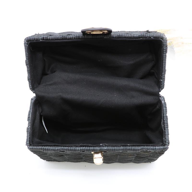 New Rattan Black Straw Shoulder Bag Women Hand-Woven Messenger Bag Summer Beach Square Chain Box Straw Handbag Drop Shipping 3
