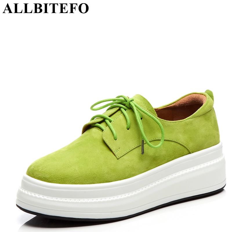 ALLBITEFO genuine leather concise women flats sneakers shoes fashion beautiful platform shoes high quality spring women
