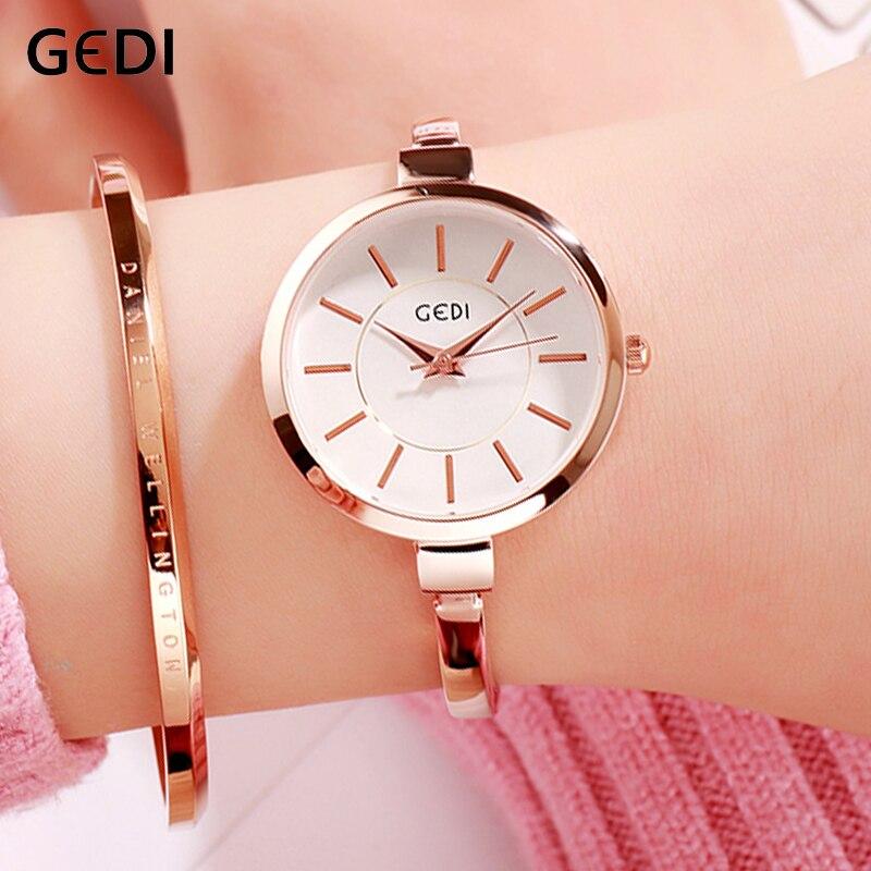GEDI Simple Gold Women Watches Big Dial Fashion 2019 Clock Female Women's Wristwatch Top Woman Watch Waterproof Reloj Mujer