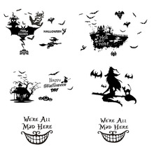 Halloween Witch Ghost Bat Cat Wall Stickers For kids Room Living Room Window Glass Decor Home Vinyl Mural Art Home Decals