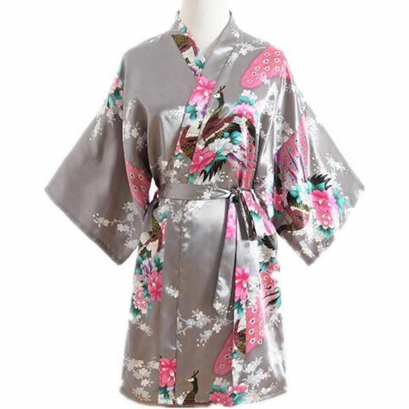 Gray Peacock Ladie s Short Satin Robe Dressing Gown Women s Leisure  Nightgown Lingerie With Belt Kimono Bathrobe bf94eb979