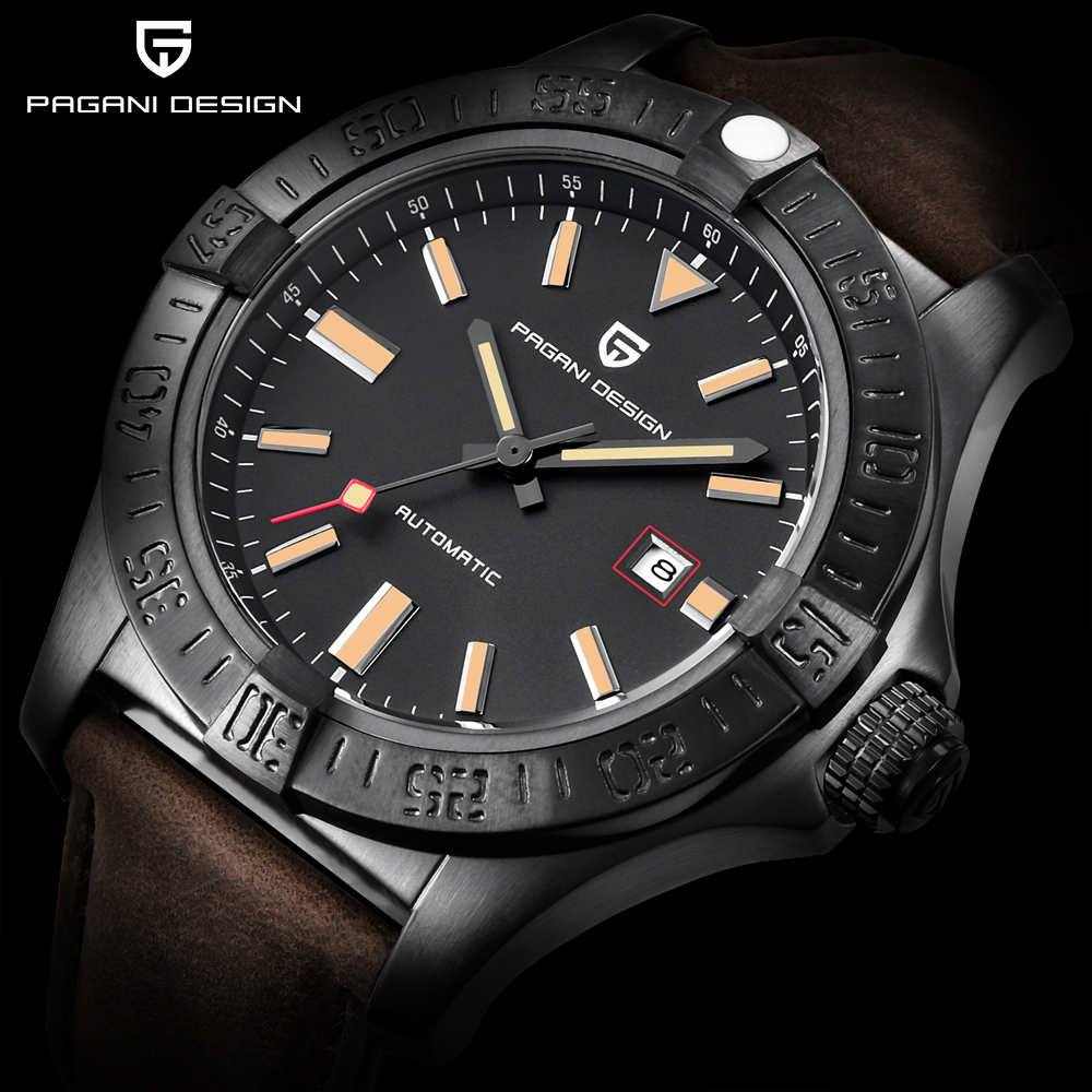PAGANI DESIGN Top Brand New Men's Classic Mechanical Watches Waterproof 30M Genuine Leather Luxury Large dial Automatic Watch-in Mechanical Watches from Watches    1
