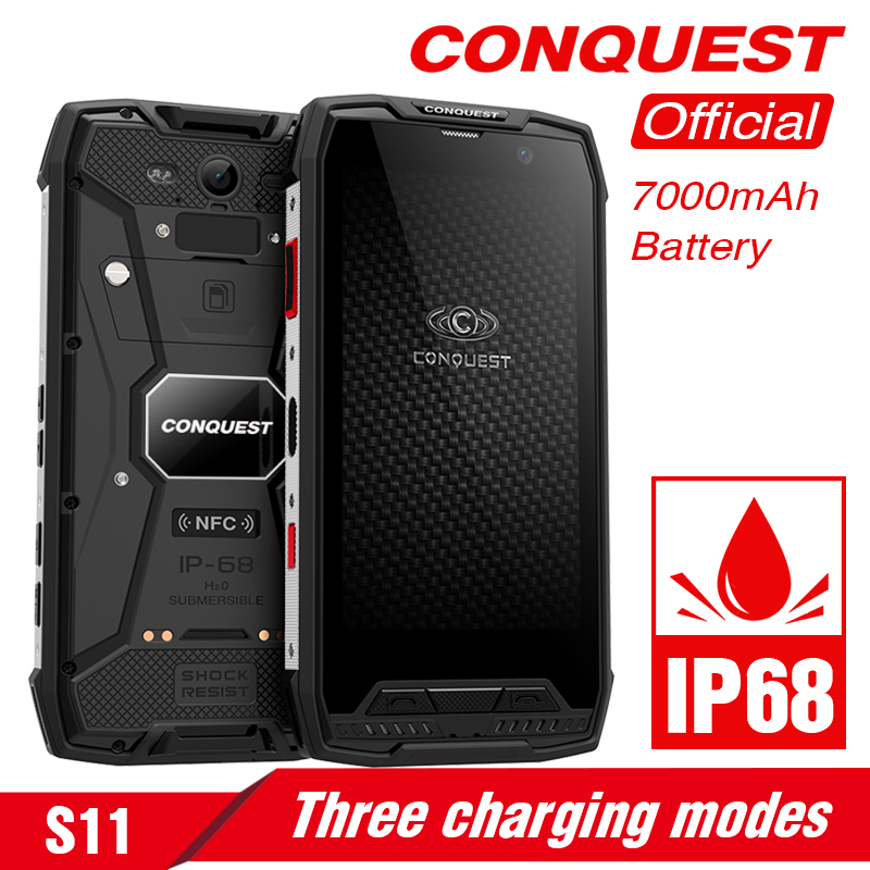 Original Conquest S11 Rugged <font><b>Smartphone</b></font> IP68 Waterproof 5.0 Inch IPS Android 7.0 6GB RAM 128GB ROM NFC 16MP Cam Mobile Phones image