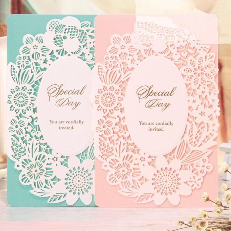 Wedding Supplies 20pcs/pack Pierced Laser Cut Flower Wedding Party Celebration Invitations Envelope Table Decoration pierced