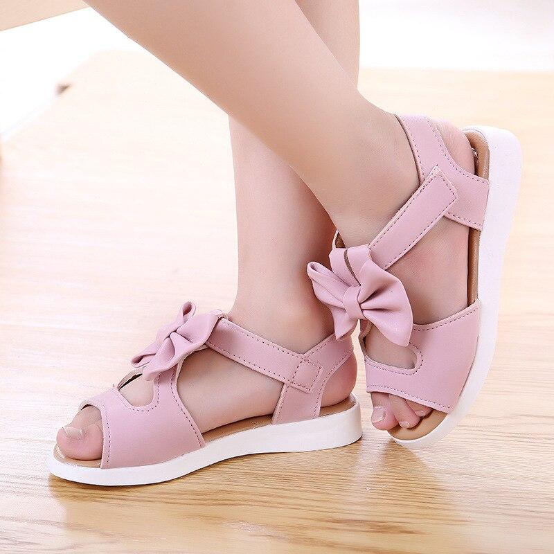 Kids Girls Summer Shoes Little Girls Sandals Leather Big Children Bowtie Princess Beach Sandals 1 2 3 4 5 6 7 8 9 10 11 12 Years