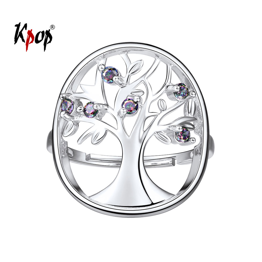 Kpop Tree of Life Ring Wedding Bridal Jewelry Gift Rainbow Stone 925 Sterling Silver Adjustable Family Tree Ring for Women R6247 30x42cm personalize wedding tree guest book alternative wedding tree fingerprint guestbook thumbprint books get 6 ink pads free