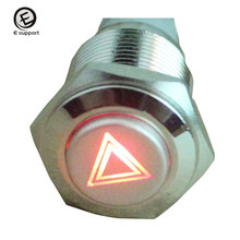 EE support Universal Auto Parts16mm 12V Light Switch Push Button ON/OFF Metal Switch Red LED Light Emergency Symbol Car Styling