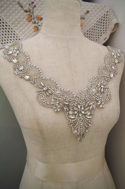 rhinestone bridal neckline applique for bridal dress, rhinestone ...