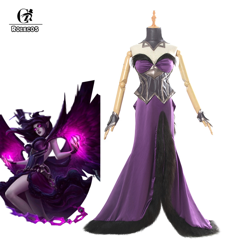 ROLECOS Game LOL Morgana Cosplay Costume Morgana Cosplay Purple Dress Fallen Angel Costume Long Sexy Dress for Women Full Set