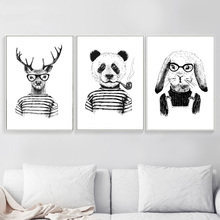 Fashion Clothes Deer Panda Rabbit Nordic Poster And Prints Wall Art Canvas Painting Pictures For Living Room Home Decor