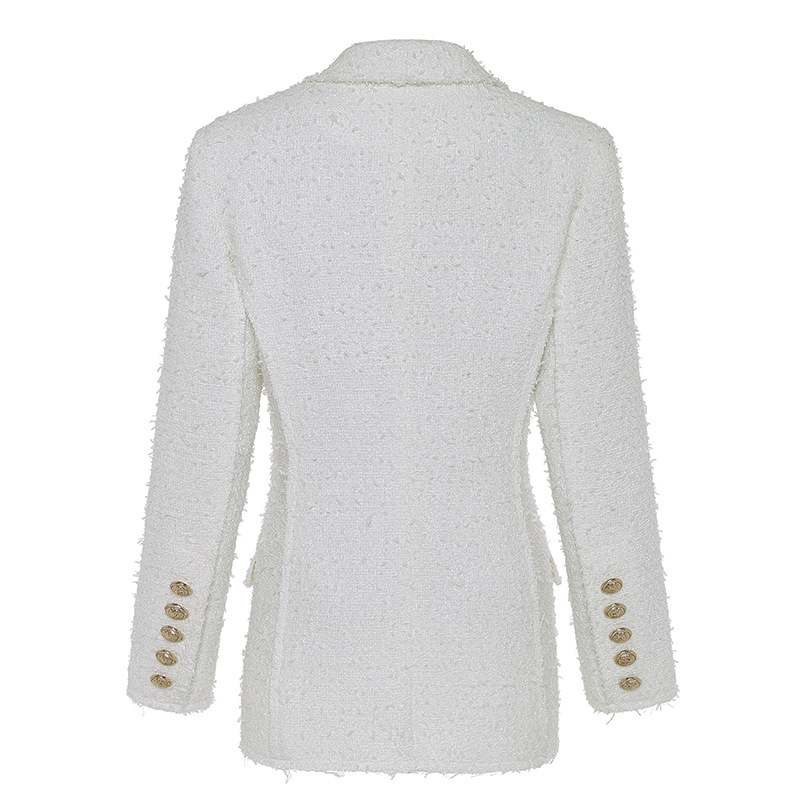 Long Blazer Woman Spring Autumn 2019 New Office White Blazer Women's Double Breasted Lion Buttons Tweed Jacket Ladies Blazer