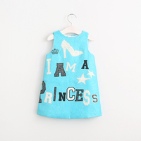 Baby Girls Spring Autumn O-Neck Letter Dresses New Sleeveless Star Crown Pattern Clothes Children Cotton Clothing 6pcs/LOT