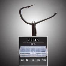250pcs/Lot TFSH-B #2 #4 #6 #8 #10 Barbed Hooks set TEFLON Coated high carbon steel Carp Fishing Hook w/ free hook box tackle box