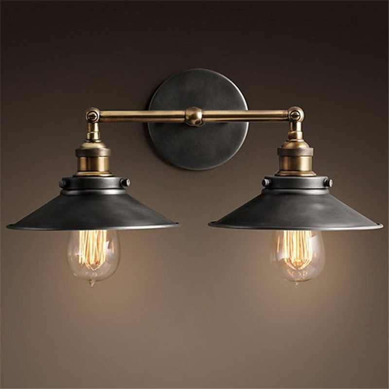 ФОТО 2 Color Modern Vintage Industrial Loft Metal Double Rustic Sconce Wall Light Wall Lamp High Quality