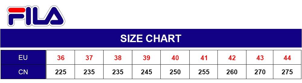 size chart fila disruptor 2