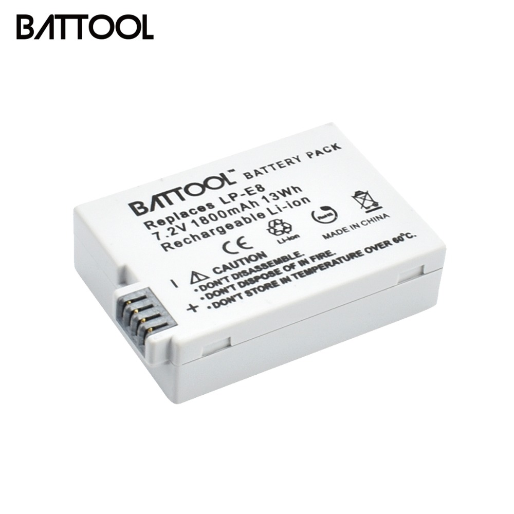 BATTOOL 1PCS 7.2V 1800mAh LP-E8 LP E8 LPE8 DSLR Li-ion Camera <font><b>Battery</b></font> For <font><b>Canon</b></font> EOS 600D <font><b>650D</b></font> 550D 700D T4i T5i Rebel T2i Bateri image