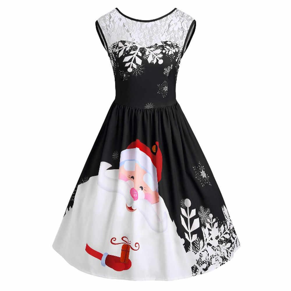 cab0d0dc778 Feitong модное рождественское платье для женщин vestidos Винтаж Ретро  сексуальное с круглым вырезом кружево вставка Санта